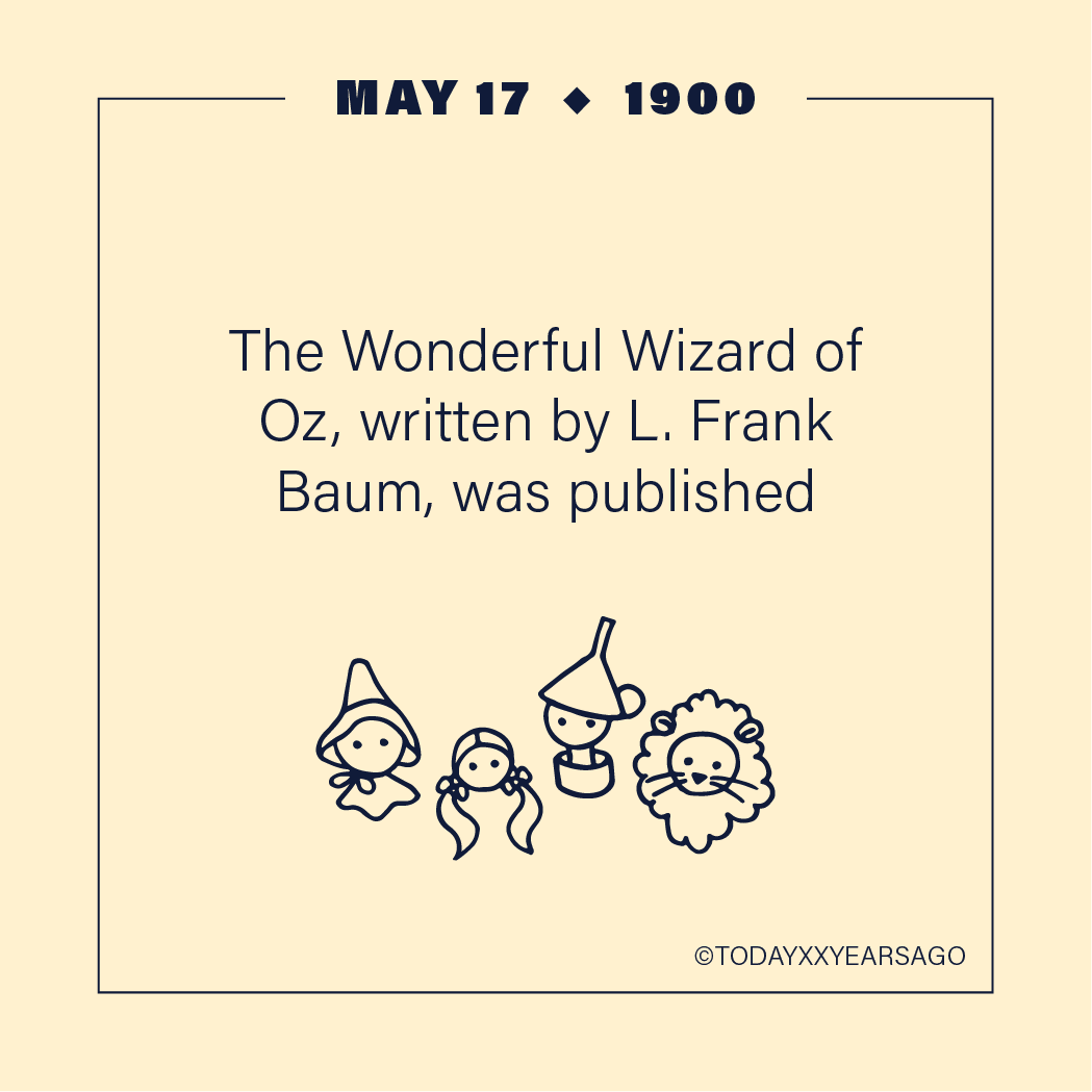 May 17 The Wonderful Wizard of Oz L Franks Baum Published