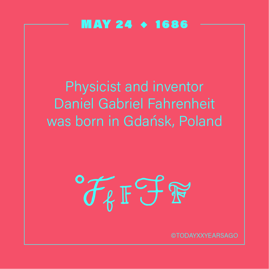 May 24 Physicist Inventor Daniel Gabriel Fahrenheit Gdansk Poland